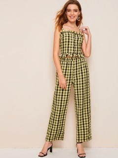 Frilled Button Front Top and Wide Leg Pants Set