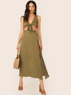 Tie Front Crop Top & Split Thigh Side Skirt Set