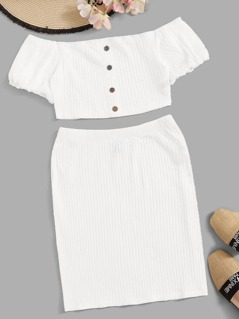 Button Front Rib-knit Bardot Tee & Bodycon Skirt Set