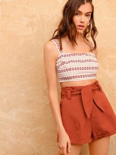 Mixed Print Zip Side Crop Top