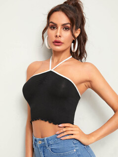 Lettuce Trim Halter Neck Crop Top