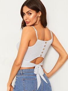 Button Detail Tie Back Striped Cami Top