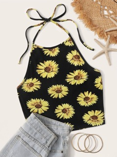 Sunflower Print  Halter Crop Top