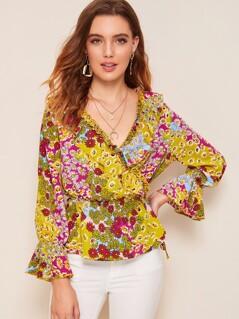 Ruffle Trim Floral Print Wrap Top