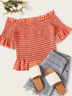 Off Shoulder Frilled Trim Shirred Gingham  Top