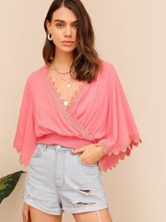 Guipure Lace Trim Shirred Hem Wrap Top