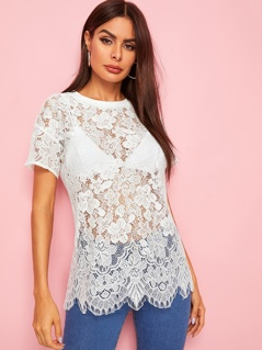 Solid Sheer Lace Top Without Bra