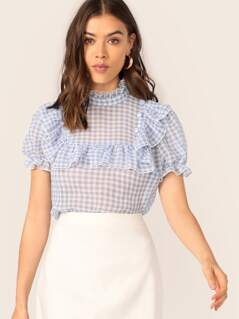 Ruffle Trim Covered Buttoned Gingham Top