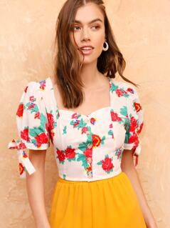 Puff Knot Sleeve Button Front Floral Top