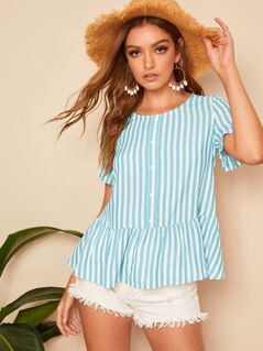 Button Front Ruffle Hem Striped Top