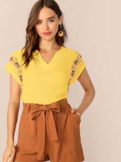 Neon Yellow V Neck Tribal Top
