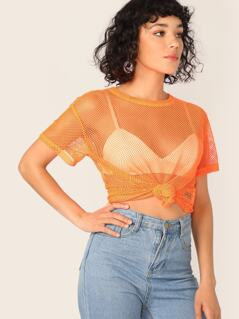 Neon Orange Sheer Fishnet Mesh Top Without Bra
