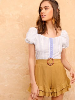Embroidered Detail Hook and Eye Placket Blouse