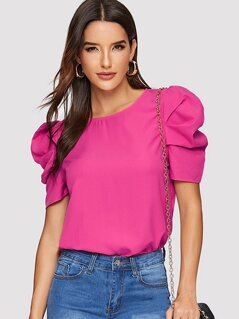 Neon Pink Keyhole Back Puff Sleeve Top