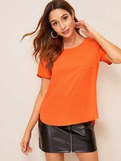 Neon Orange High Low Hem Pocket Patch Top