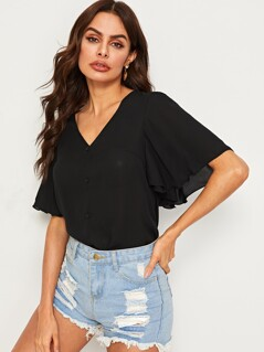 Flutter Sleeve Buttoned Front Top