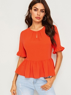 Neon Orange Gathered Keyhole Neck Peplum Top