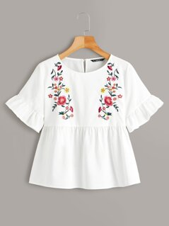 Embroidery Floral Ruffle Cuff Peplum Top