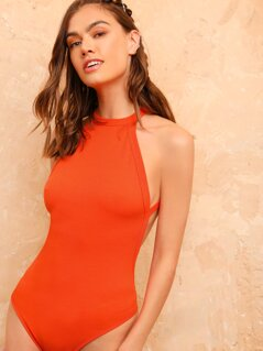 Neon Orange Crisscross Backless Halter Bodysuit