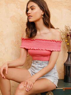Frill Shirred Solid Bardot Bodysuit
