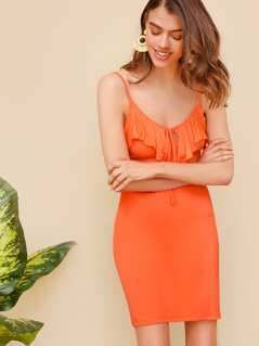 Neon Orange Ruffle Trim Bodycon Slip Dress