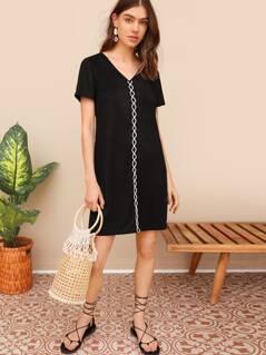 Crisscross Detail Tunic Dress