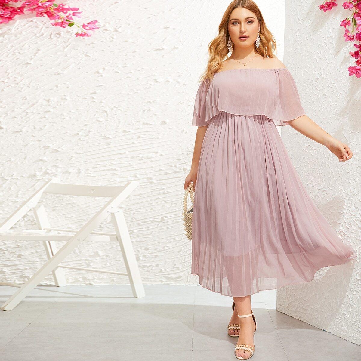 Roze  Boho Vlak Grote maten jurken Geplooide