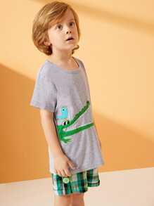 Embroider | Toddler | Animal | Plaid | Short | Tee