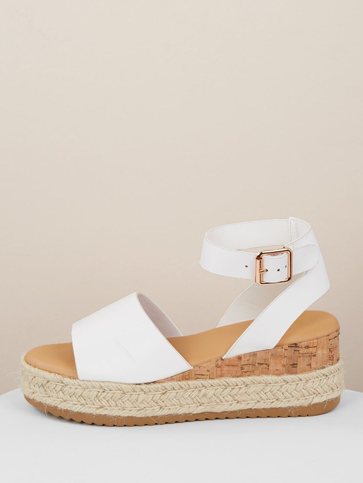 Single Band Buckled Ankle Jute Low Wedge Sandals
