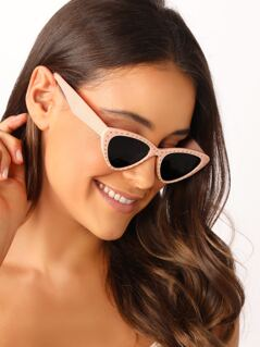 Studded Acetate Cat Eye Frame Sunglasses