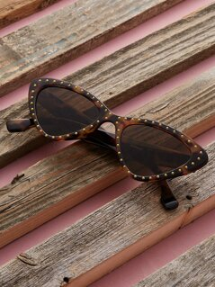 Studded Tortoise Acetate Cat Eye Frame Sunglasses