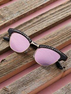 Rhinestone Clubmaster Reflective Sunglasses