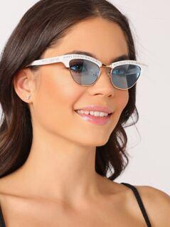 Rhinestone Crystal Clubmaster Wayfarer Sunglasses
