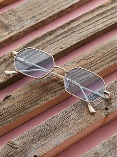 Thin Metal Frame Colored Lens Octagon Sunglasses