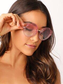 Oversized Clear Acetate Gradient Lens Sunglasses
