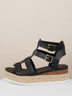 Double Buckle Strappy Gladiator Flatform Sandals