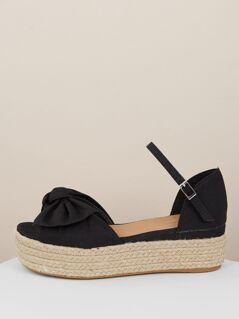 Bow Front Jute Trim Espadrille Flatform Sandals