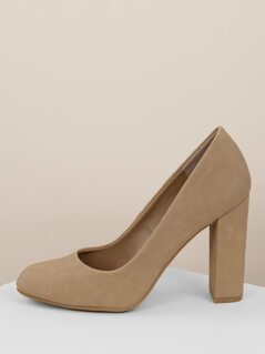 Classic Almond Toe Chunk Heel Pumps