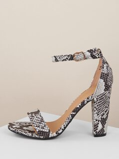 Snakeskin Ankle Strap Chunky Heel Sandals