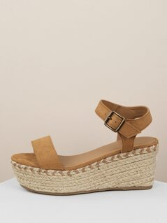One Band Buckled Ankle Jute Wrapped Wedges