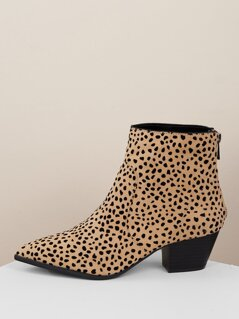 Pointed Toe Chunky Heel Leopard Ankle Booties