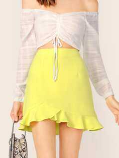 Back Zip Ruffle A-Line Neon Mini Skirt