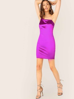 Asymmetric Neckline Satin Mini Slip Dress