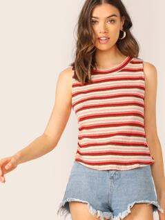 Scoop Neck Rib Knit Stripe Tank Top