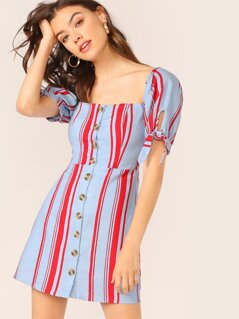 Button Front Striped Smocked Puff Sleeve Dress