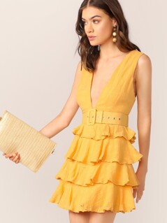 Belted Waist V-Neck Tiered Ruffle Mini Dress