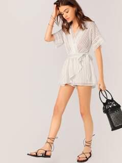 Lace V-Neck Waist Wrap Stripe Kimono Sleeve Romper