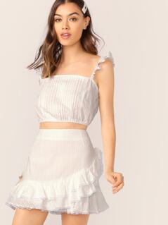 Pleated Lace Crop Top And Ruffle Mini Skirt Set