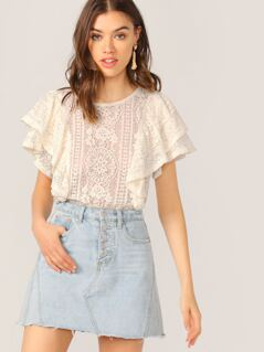 Round Neck Sheer Lace Ruffle Sleeve Keyhole Top