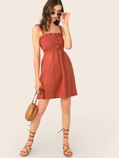 Button Up Smocked Bodice Sleeveless Ruffle Dress